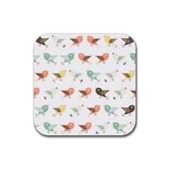 Assorted Birds Pattern Rubber Coaster (square)  by linceazul