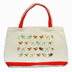 Assorted Birds Pattern Classic Tote Bag (red) by linceazul