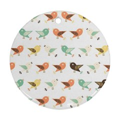 Assorted Birds Pattern Round Ornament (two Sides) by linceazul