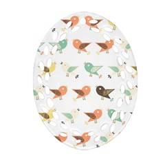 Assorted Birds Pattern Oval Filigree Ornament (two Sides) by linceazul