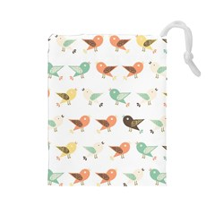 Assorted Birds Pattern Drawstring Pouches (large)  by linceazul