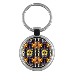 Mystic Yellow Blue Ornament Pattern Key Chains (round)