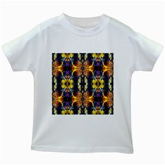 Mystic Yellow Blue Ornament Pattern Kids White T Shirts