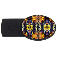 Mystic Yellow Blue Ornament Pattern Usb Flash Drive Oval (2 Gb)