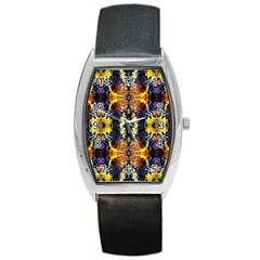 Mystic Yellow Blue Ornament Pattern Barrel Style Metal Watch