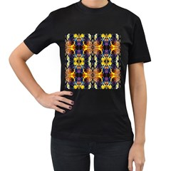 Mystic Yellow Blue Ornament Pattern Women s T Shirt (black) (two Sided)