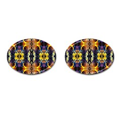 Mystic Yellow Blue Ornament Pattern Cufflinks (oval) by Costasonlineshop