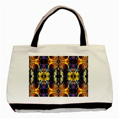 Mystic Yellow Blue Ornament Pattern Basic Tote Bag