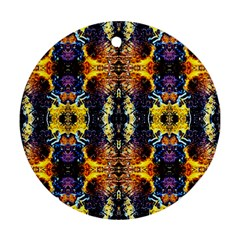 Mystic Yellow Blue Ornament Pattern Round Ornament (two Sides)