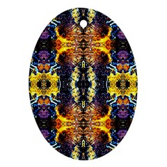 Mystic Yellow Blue Ornament Pattern Oval Ornament (two Sides)