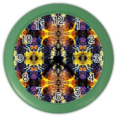 Mystic Yellow Blue Ornament Pattern Color Wall Clocks