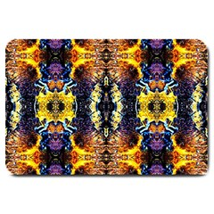 Mystic Yellow Blue Ornament Pattern Large Doormat