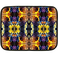 Mystic Yellow Blue Ornament Pattern Fleece Blanket (mini)