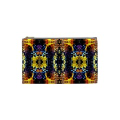 Mystic Yellow Blue Ornament Pattern Cosmetic Bag (small)