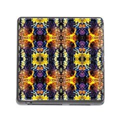 Mystic Yellow Blue Ornament Pattern Memory Card Reader (square)