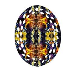Mystic Yellow Blue Ornament Pattern Ornament (oval Filigree)