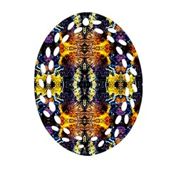 Mystic Yellow Blue Ornament Pattern Oval Filigree Ornament (two Sides) by Costasonlineshop