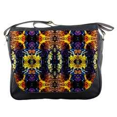Mystic Yellow Blue Ornament Pattern Messenger Bags by Costasonlineshop