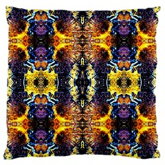 Mystic Yellow Blue Ornament Pattern Large Cushion Case (two Sides) by Costasonlineshop