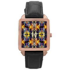 Mystic Yellow Blue Ornament Pattern Rose Gold Leather Watch  by Costasonlineshop