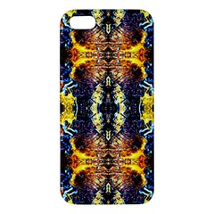 Mystic Yellow Blue Ornament Pattern Apple Iphone 5 Premium Hardshell Case by Costasonlineshop
