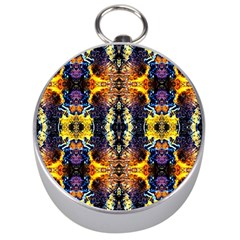 Mystic Yellow Blue Ornament Pattern Silver Compasses
