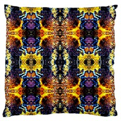 Mystic Yellow Blue Ornament Pattern Large Flano Cushion Case (two Sides) by Costasonlineshop