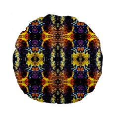 Mystic Yellow Blue Ornament Pattern Standard 15  Premium Flano Round Cushions by Costasonlineshop