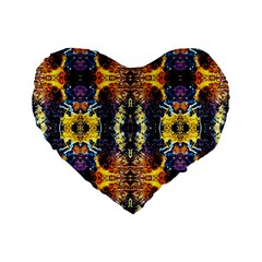 Mystic Yellow Blue Ornament Pattern Standard 16  Premium Flano Heart Shape Cushions by Costasonlineshop