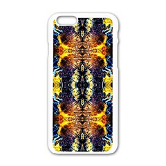 Mystic Yellow Blue Ornament Pattern Apple Iphone 6/6s White Enamel Case