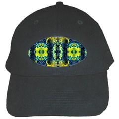 Mystic Yellow Green Ornament Pattern Black Cap by Costasonlineshop
