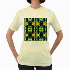 Mystic Yellow Green Ornament Pattern Women s Yellow T Shirt by Costasonlineshop