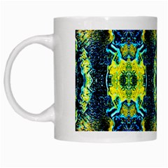 Mystic Yellow Green Ornament Pattern White Mugs by Costasonlineshop