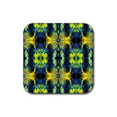 Mystic Yellow Green Ornament Pattern Rubber Square Coaster (4 Pack)
