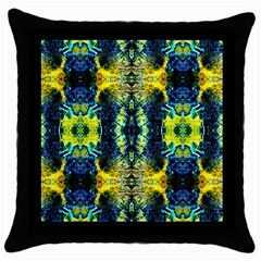 Mystic Yellow Green Ornament Pattern Throw Pillow Case (black)