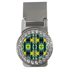 Mystic Yellow Green Ornament Pattern Money Clips (cz)  by Costasonlineshop