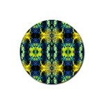 Mystic Yellow Green Ornament Pattern Rubber Coaster (Round)  Front