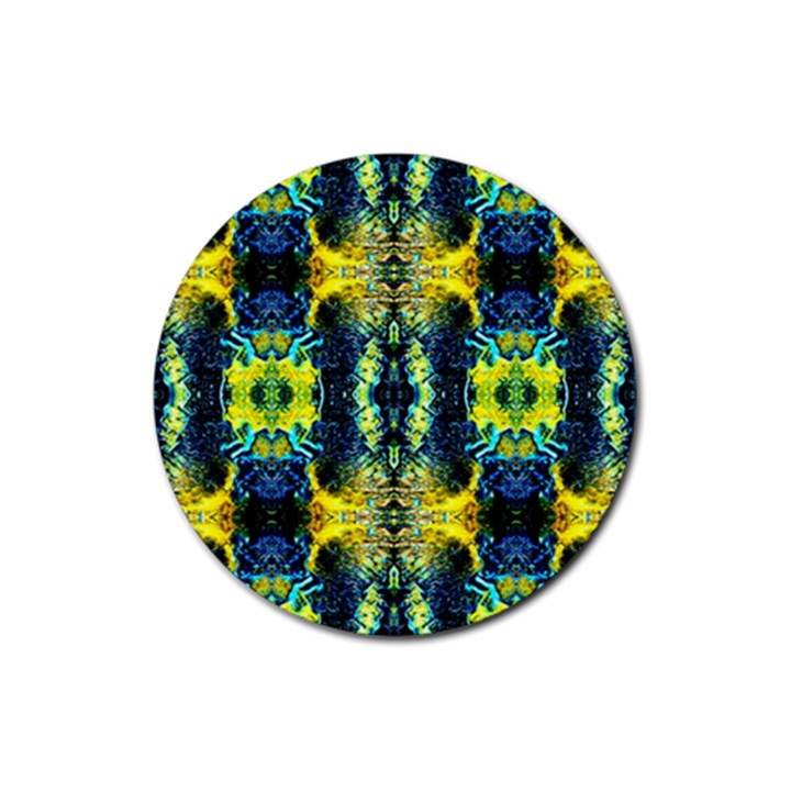 Mystic Yellow Green Ornament Pattern Rubber Coaster (Round)