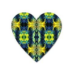 Mystic Yellow Green Ornament Pattern Heart Magnet by Costasonlineshop