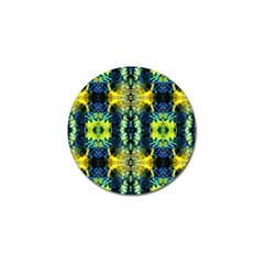 Mystic Yellow Green Ornament Pattern Golf Ball Marker