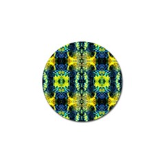 Mystic Yellow Green Ornament Pattern Golf Ball Marker (4 Pack)