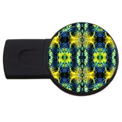 Mystic Yellow Green Ornament Pattern Usb Flash Drive Round (2 Gb)