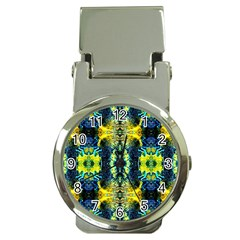 Mystic Yellow Green Ornament Pattern Money Clip Watches by Costasonlineshop