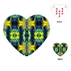 Mystic Yellow Green Ornament Pattern Playing Cards (heart)  by Costasonlineshop