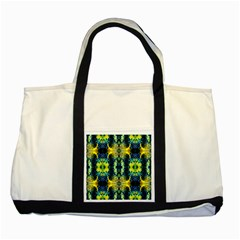 Mystic Yellow Green Ornament Pattern Two Tone Tote Bag by Costasonlineshop