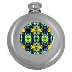 Mystic Yellow Green Ornament Pattern Round Hip Flask (5 Oz)