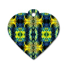 Mystic Yellow Green Ornament Pattern Dog Tag Heart (one Side)