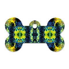 Mystic Yellow Green Ornament Pattern Dog Tag Bone (two Sides)