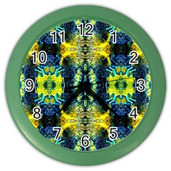 Mystic Yellow Green Ornament Pattern Color Wall Clocks by Costasonlineshop