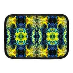 Mystic Yellow Green Ornament Pattern Netbook Case (medium)  by Costasonlineshop